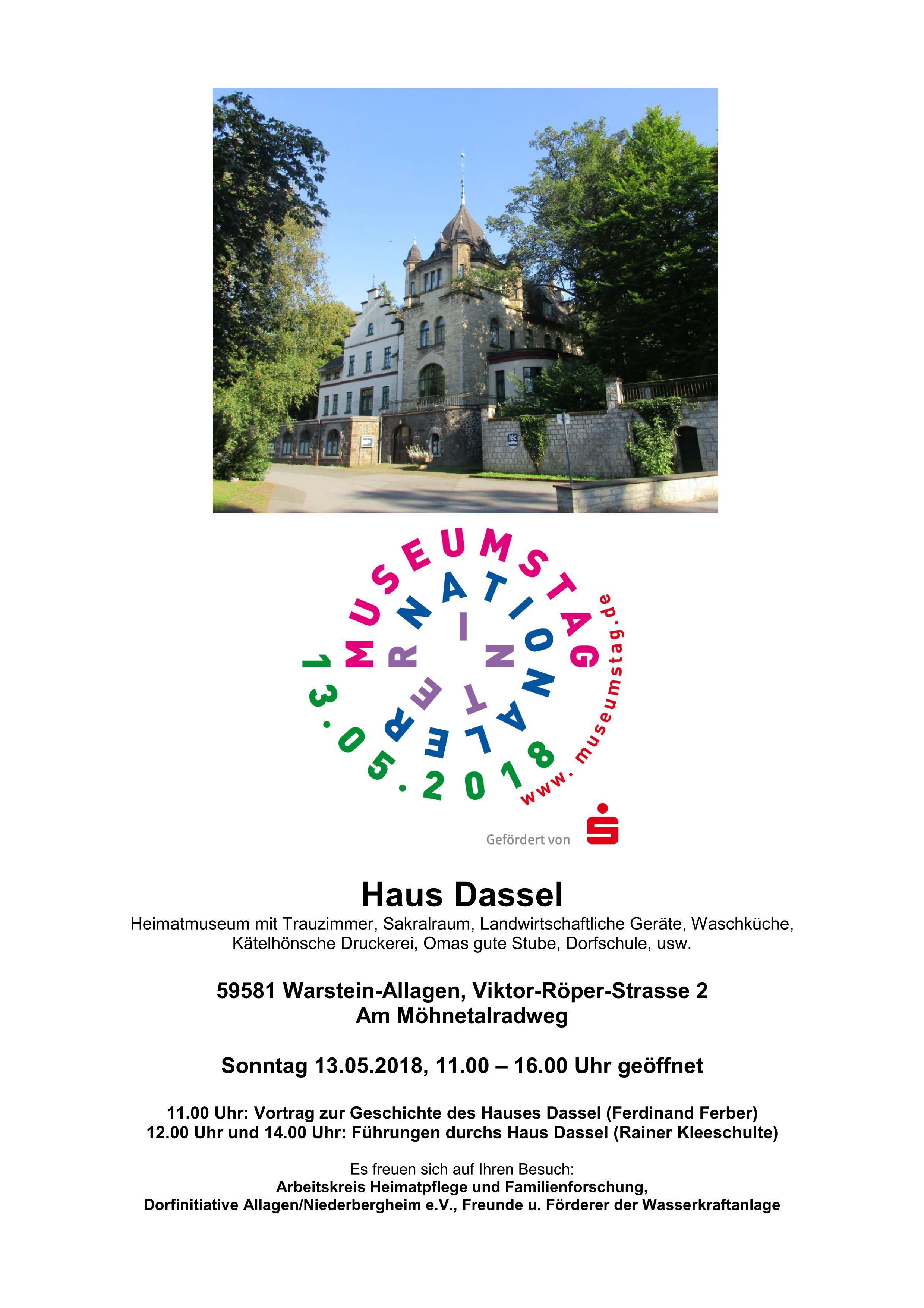 Plakat internationaler Museumstag Haus Dassel